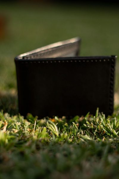 custom made very small black leather wallet - 9x6.5 cm