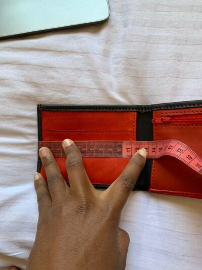 Custom made black and red wallet