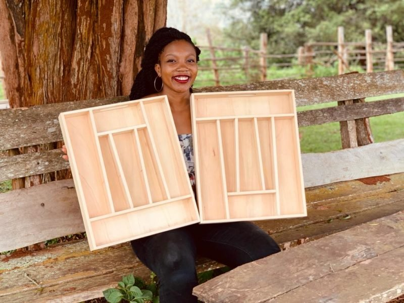 maßgefertigter Besteckkasten aus Holz B 40,5 T 49,6 H 6,75