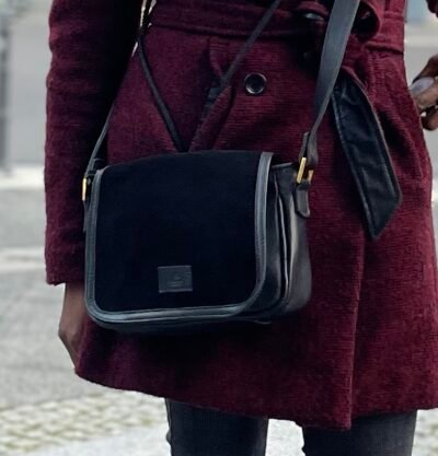 Custom made small bag - black - soft leather - suede detail photos from customer