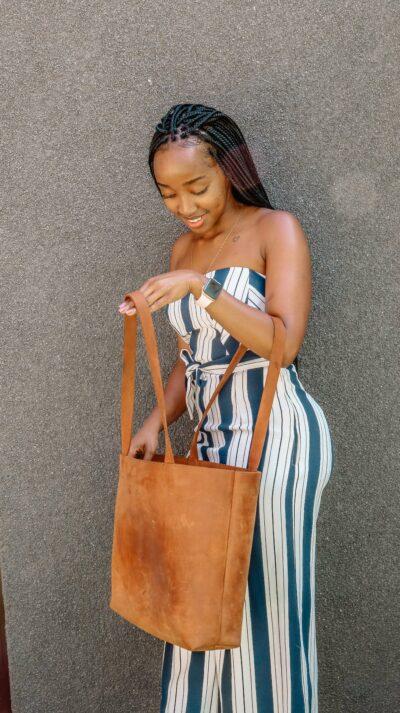 custom made feminin leather tote bag