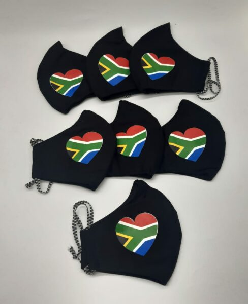 7 Custom made face masks with the flag from South Africa