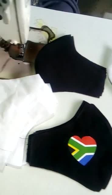 7 Custom made face masks with the flag from South Africa within custom made realization