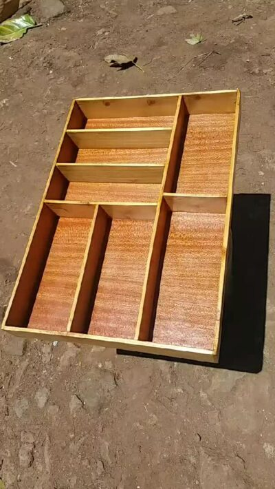 Custom made insert made of beech wood within custom made realization